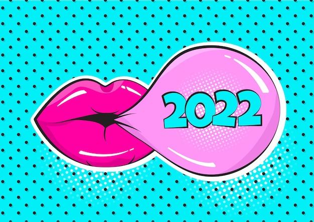 2022 nowy rok komiks wektor guma bańka i różowe usta na tle polka dot. kartkę z życzeniami w stylu pop-art. wakacyjna ilustracja