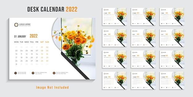 2022 nowy rok projekt kalendarza biurkowego premium wektor