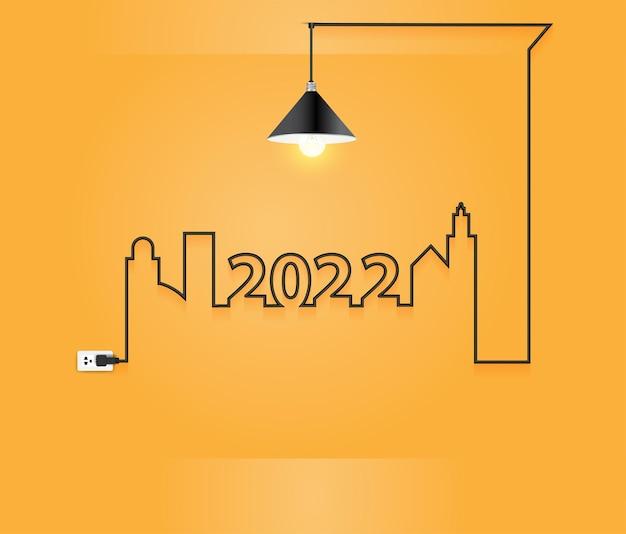 2022 nowy rok wnętrz z kreatywnym pomysłem na żarówkę z drutu w pokoju ściennym, ilustracja wektorowa nowoczesnego szablonu układu