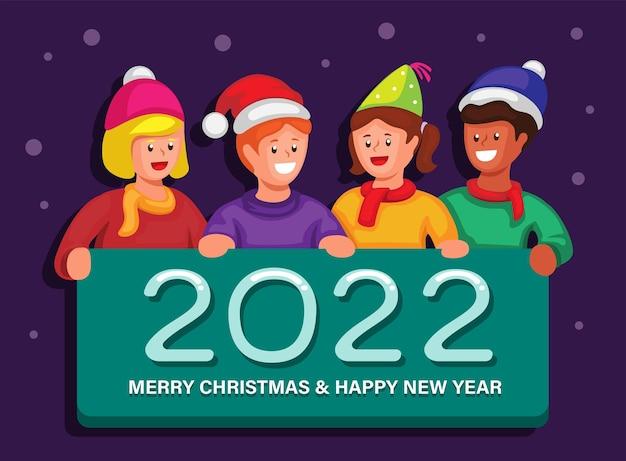 2022 obchody świąt bożego narodzenia i nowego roku z wektorem ilustracji kreskówki dla dzieci