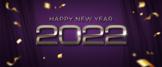 2022 szczęśliwego nowego roku ciemnofioletowy sztandar z miejscem na tekst