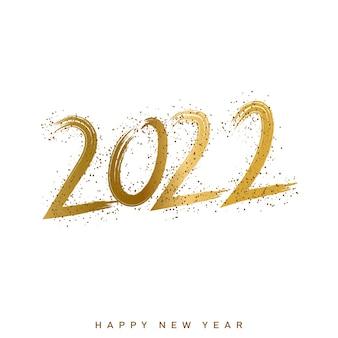 2022 szczęśliwego nowego roku ilustracja ze złotym napisem tekstowym odręcznym kaligrafii. wektor
