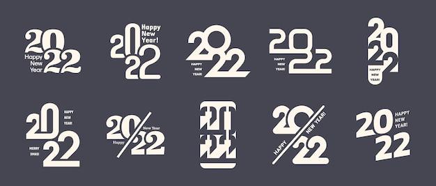 2022 szczęśliwego nowego roku logo różne odmiany zestaw na białym tle