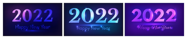 2022 szczęśliwego nowego roku neonowe tło. zestaw trzech abstrakcyjnych teł neonowych ze światłami na kartkę z życzeniami świątecznymi, ulotki lub plakaty. ilustracja wektorowa