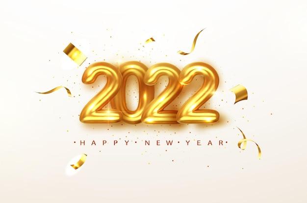 2022 szczęśliwego nowego roku. numery metaliczne w kolorze złotym data 2022 z karty z pozdrowieniami. szczęśliwego nowego roku transparent z numerami 2022 na jasnym tle. ilustracja wektorowa.
