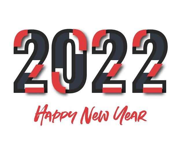 2022 szczęśliwego nowego roku. numery w stylu papieru. wektorowe liczby liniowe. projekt karty z pozdrowieniami. ilustracji wektorowych. wolny wektor