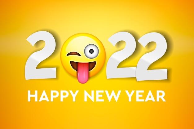2022 szczęśliwego nowego roku powitanie poziomy baner z uśmiechniętą twarzą naklejka emoji i numer 2022