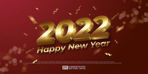 2022 szczęśliwego nowego roku projekt złotej liczby na czerwonym tle koloru