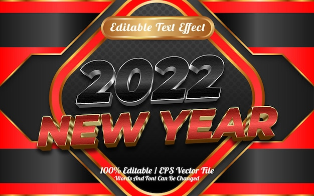 2022 szczęśliwego nowego roku styl szablonu edytowalnego efektu tekstowego 3d