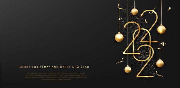2022 szczęśliwego nowego roku. szczęśliwego nowego roku transparent z datami złote metalowe cyfry 2022. ciemne luksusowe tło. ilustracja wektorowa.