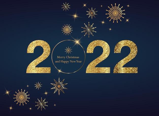 2022 szczęśliwego nowego roku tło ze złotym brokatem numer boże narodzenie zimowe wakacje projekt
