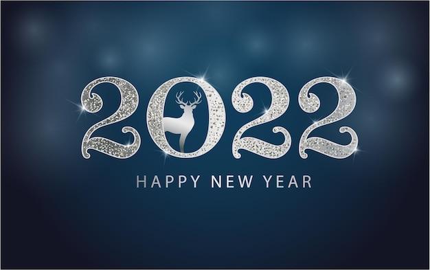 2022 szczęśliwego nowego roku w tle srebrny brokatowy numer ze świątecznym jeleniem