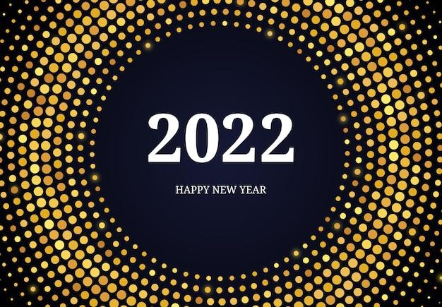 2022 szczęśliwego nowego roku wzór złotego brokatu w formie koła. streszczenie złoto świecące półtonów kropkowane tło dla karty z pozdrowieniami świątecznymi na ciemnym tle. ilustracja wektorowa
