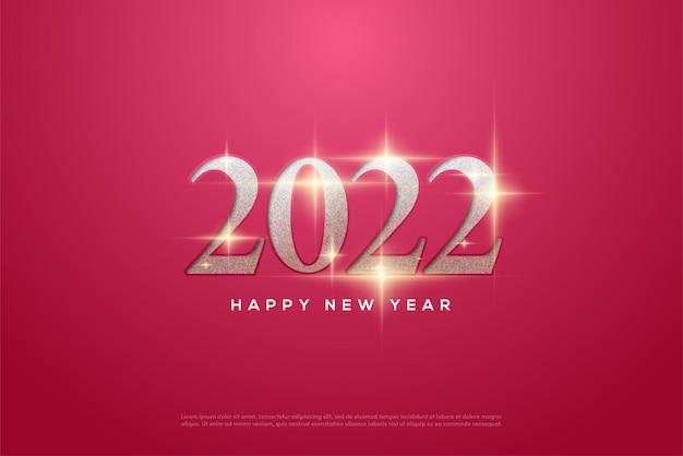 2022 szczęśliwego nowego roku z brokatowym diamentem w liczbach