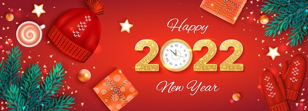 2022 szczęśliwego nowego roku złote cyfry z cekinami i zegarem ściennym ulotka banerowa z bożym narodzeniem