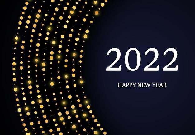 2022 szczęśliwego nowego roku złotego brokatu wzór w formie koła. streszczenie złoto świecące półtonów kropkowane tło dla karty z pozdrowieniami świątecznymi na ciemnym tle. ilustracja wektorowa