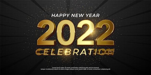 2022 szczęśliwego nowego roku złoty połysk 2022 napis na ciemnym tle