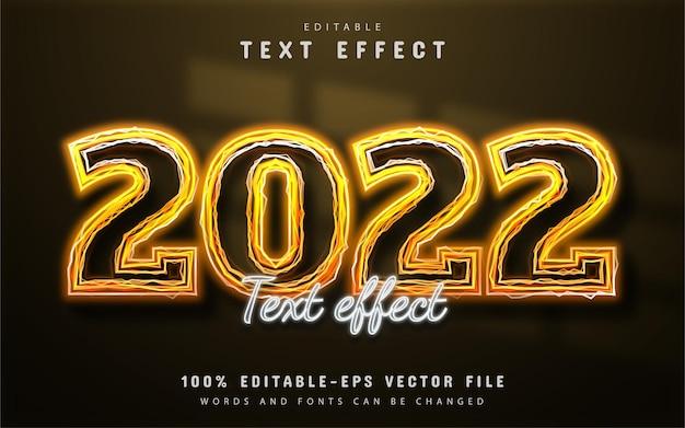 2022 tekst, edytowalny efekt tekstowy żółty neon