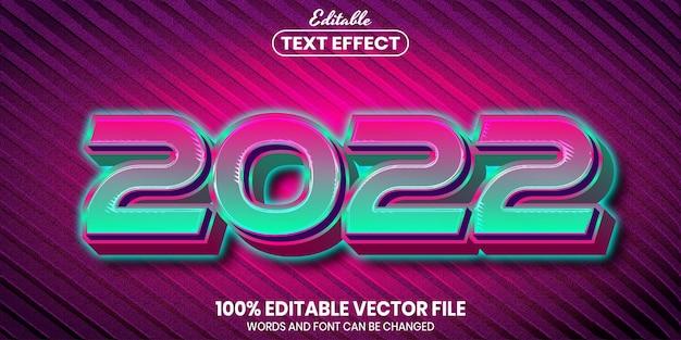 2022 tekst, edytowalny efekt tekstu w stylu czcionki