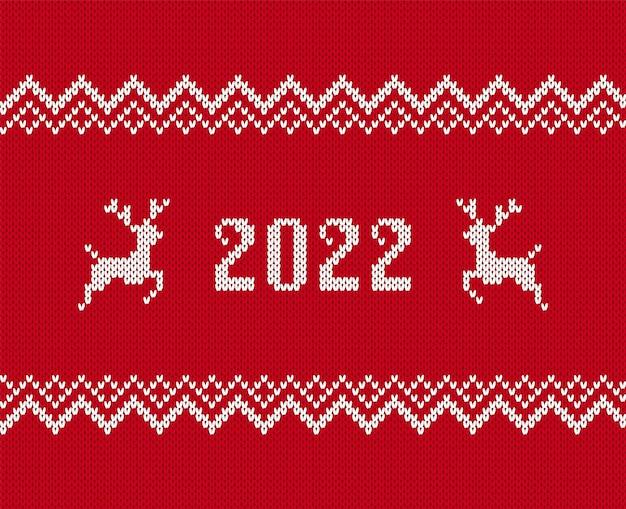 2022 wzór dzianiny. świąteczny nadruk. ilustracja wektorowa.