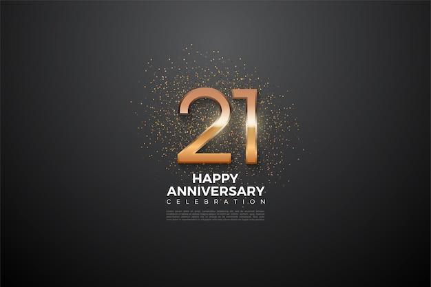 21 rocznica tło z błyszczącą ilustracją liczby w środku.