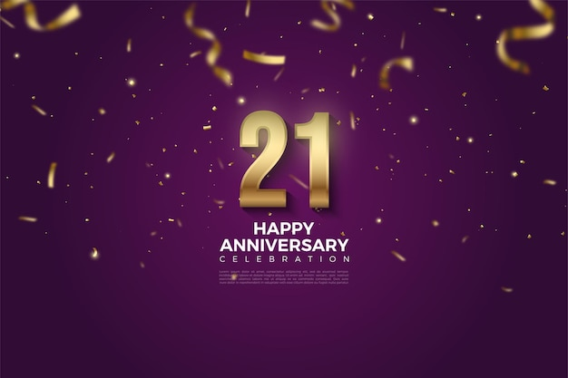 21 rocznica tło z złotą wstążką deszcz i ilustracji liczb.