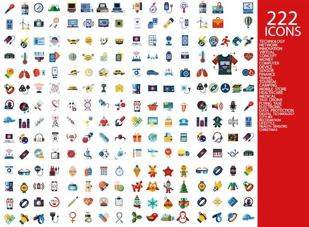 222 kolorowe ikony kolekcji