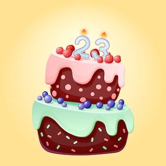 23 lata urodzinowe słodkie kreskówka uroczysty tort ze świecą numer dwadzieścia trzy. czekoladowe ciastko z jagodami, wiśniami i jagodami
