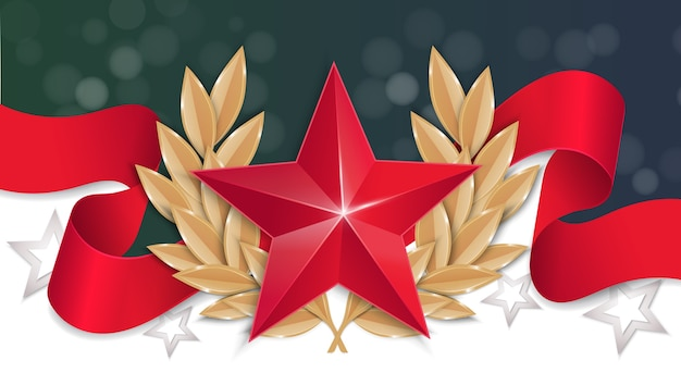 23 lutego tło. czerwona gwiazda z wieńcem laurowym na czerwonej wstążce.