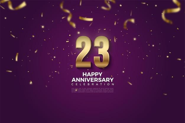 23 rocznica z ilustracją liczb upuszczonych na złotych wstążkach