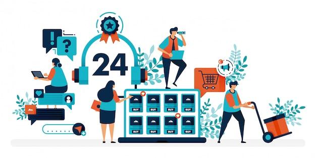 24-godzinna obsługa klienta, aby pomóc użytkownikom rozwiązać problemy. usługa czatu pomaga zadawać pytania dotyczące problemów technicznych.