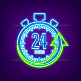 24-godzinna strzałka zegara. neonowa ikona. efekt czasu pracy lub czas dostawy. czas ilustracja wektorowa.