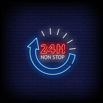 24-godzinny neonowy szyld nonstop na ścianie z cegły