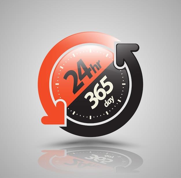 24 godziny 365 dni z ikoną strzałki dwa koła.