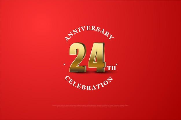 24. rocznica z cieniowanymi złotymi cyframi