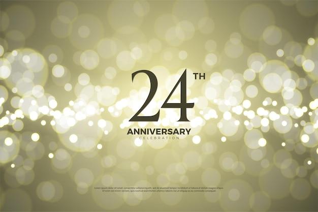 24 rocznica z cyframi na złotej folii