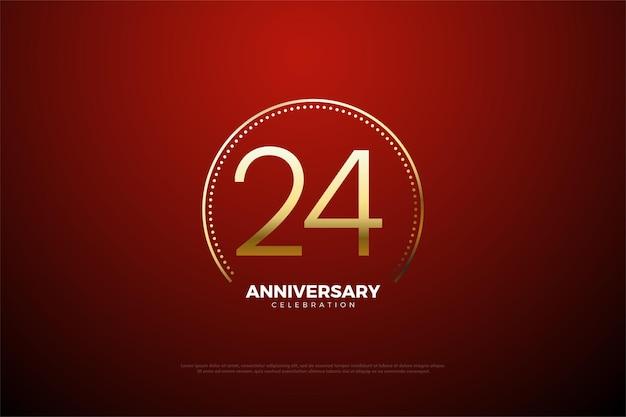 24 rocznica z cyframi otoczonymi złotymi paskami i kropkami