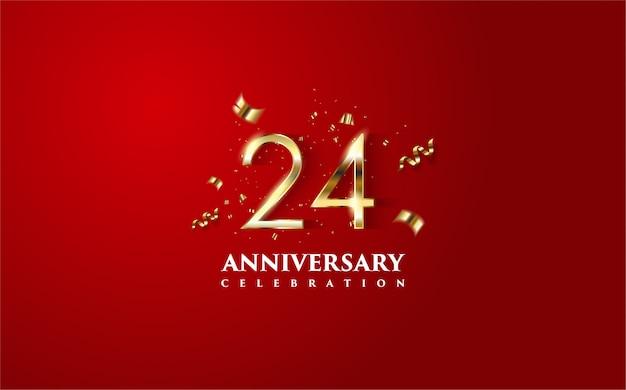 24 rocznica z ilustracjami postaci 3d w złotych i złotych elementach folio w kawałkach.