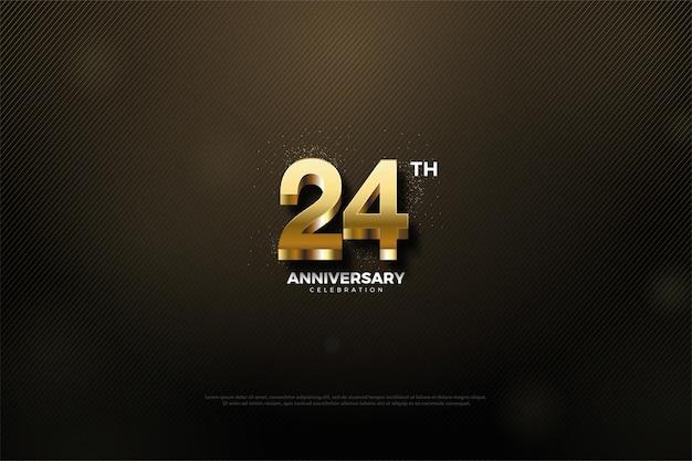 24. rocznica z pogrubionymi złotymi cyframi