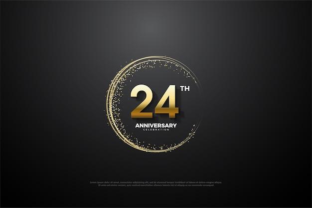 24. rocznica ze złotymi cyframi i piaskiem