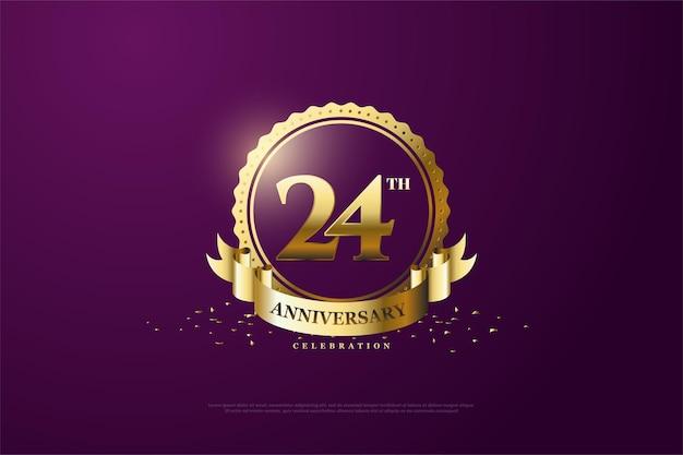 24. rocznica ze złotymi cyframi i symbolami
