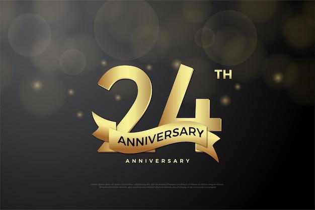 24. rocznica ze złotymi cyframi i wstążką
