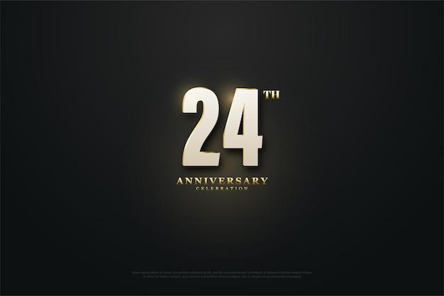 24. rocznica ze złotymi nakrapianymi cyframi