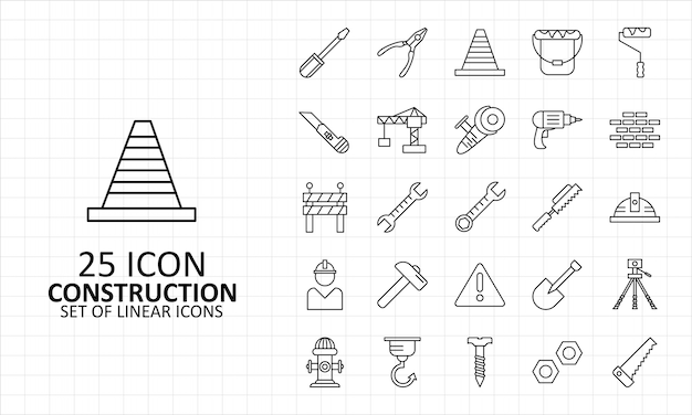 25 arkusz ikon budowy pixel perfect
