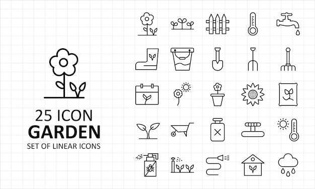 25 arkusz ikon ogrodowych piksel idealne ikony