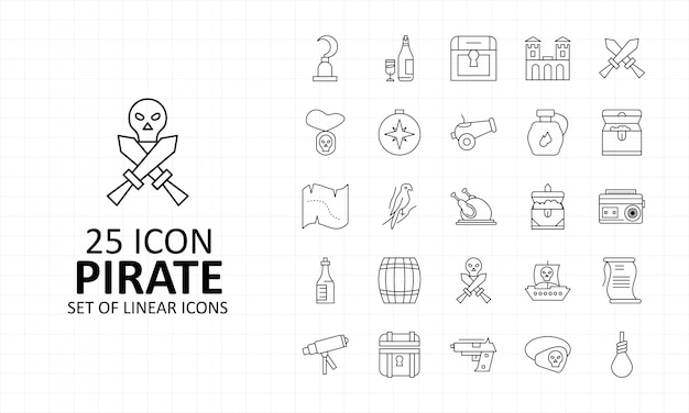 25 arkusz ikon piratów pixel perfect icons