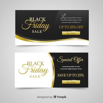 25% elegancki czarny piątek rabatu banery