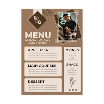 25-lecie menu szablonu