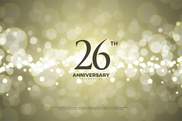 26. rocznica tło ze złotym papierowym tłem