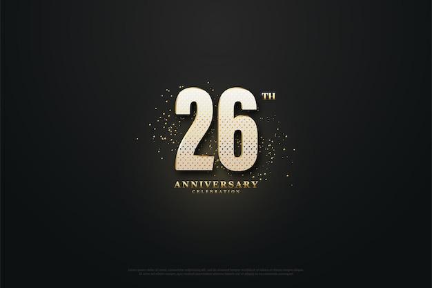 26 rocznica tło ze złotymi cyframi i brokatem